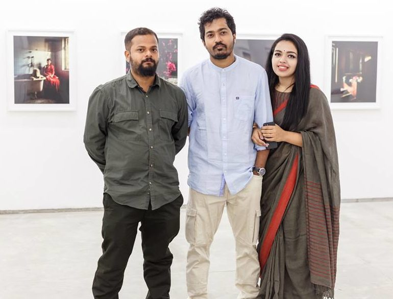 Soumya and his wife at the Experimenter Gallery